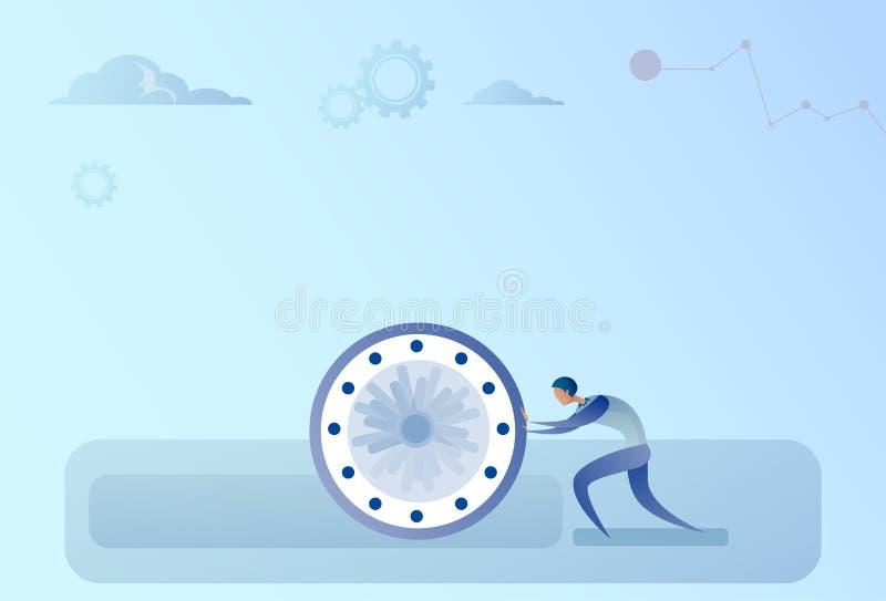 Geschäftsmann, der Uhr-Zeit-Management-Fristen-Konzept drückt stock abbildung