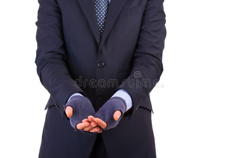 Geschäftsmann, der um Geld bittet. stockfotografie