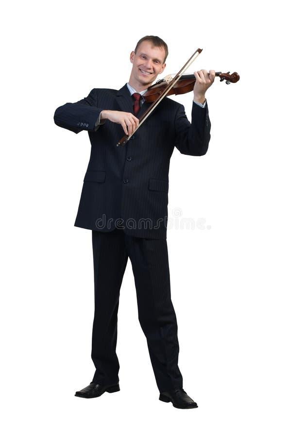 Geschäftsmann, der Violine spielt lizenzfreie stockfotografie