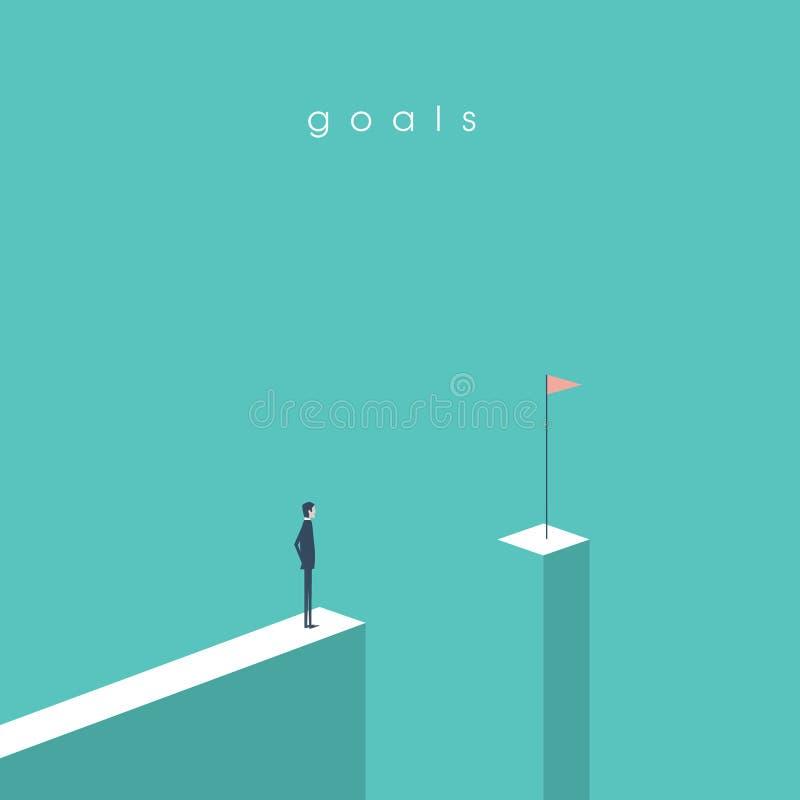 Geschäftsmann, der vor dem Abstand betrachtet Flagge steht Geschäftskonzept von Zielen, von Erfolg, von Leistung und von Herausfo stock abbildung