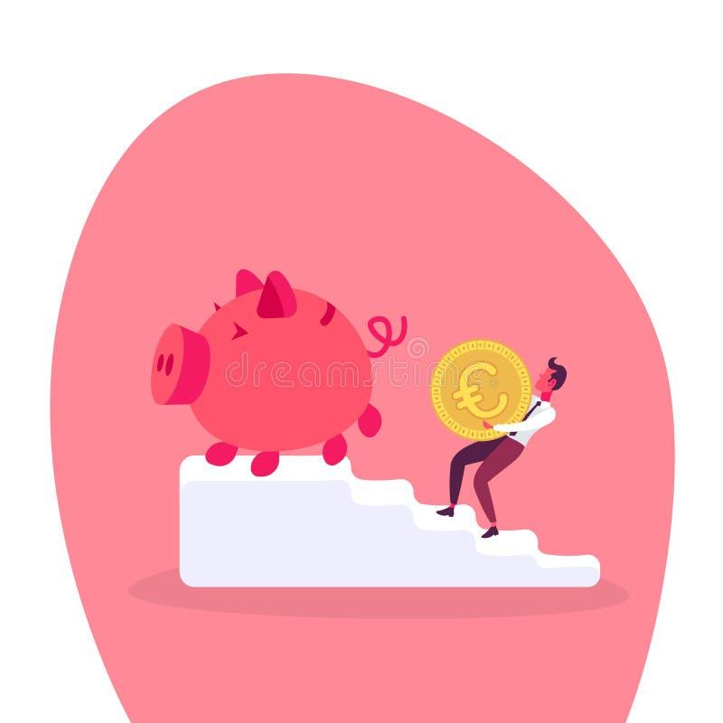 Geschäftsmann, der Wachstumsreichtums-Konzeptzeichentrickfilm-figur des Euromünzensparschweinleiterpodiums die kletternde in voll lizenzfreie abbildung
