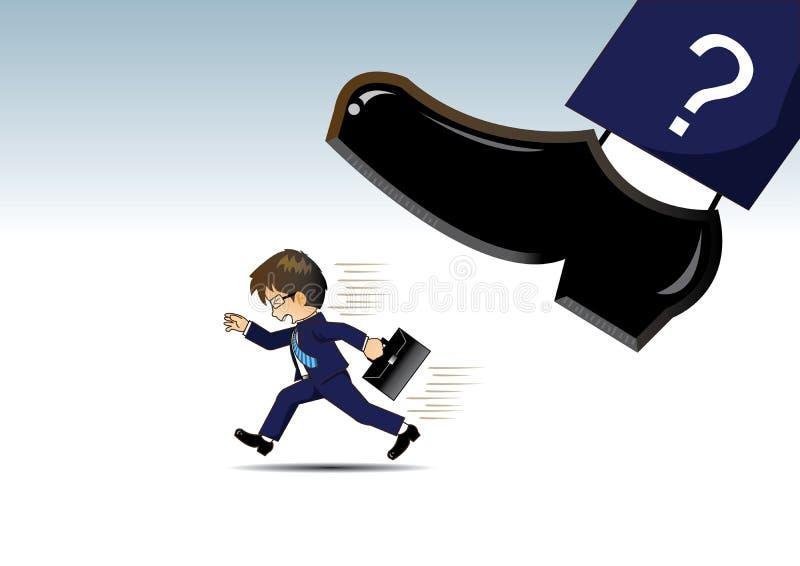 Geschäftsmann, der weg von sehr großen Schuhen läuft stock abbildung