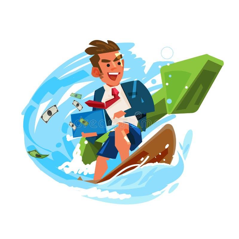 Geschäftsmann, der an Welle mit grünem positivem Diagramm surft und arbeitet erfolgreiches Geschäft oder Arbeitskonzept - Vektor lizenzfreie abbildung