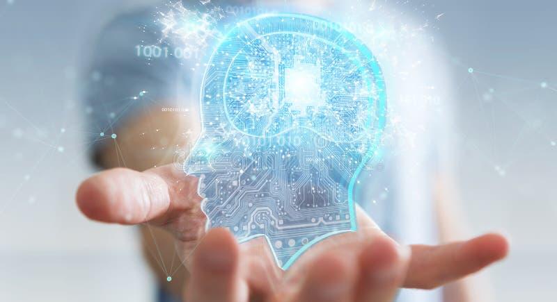 Geschäftsmann, der Wiedergabe der künstlichen Intelligenz 3D schafft lizenzfreie abbildung