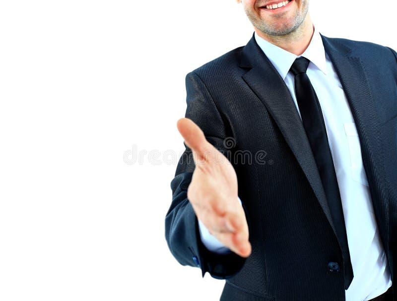 Geschäftsmann, der Willkommen sagt lizenzfreie stockbilder