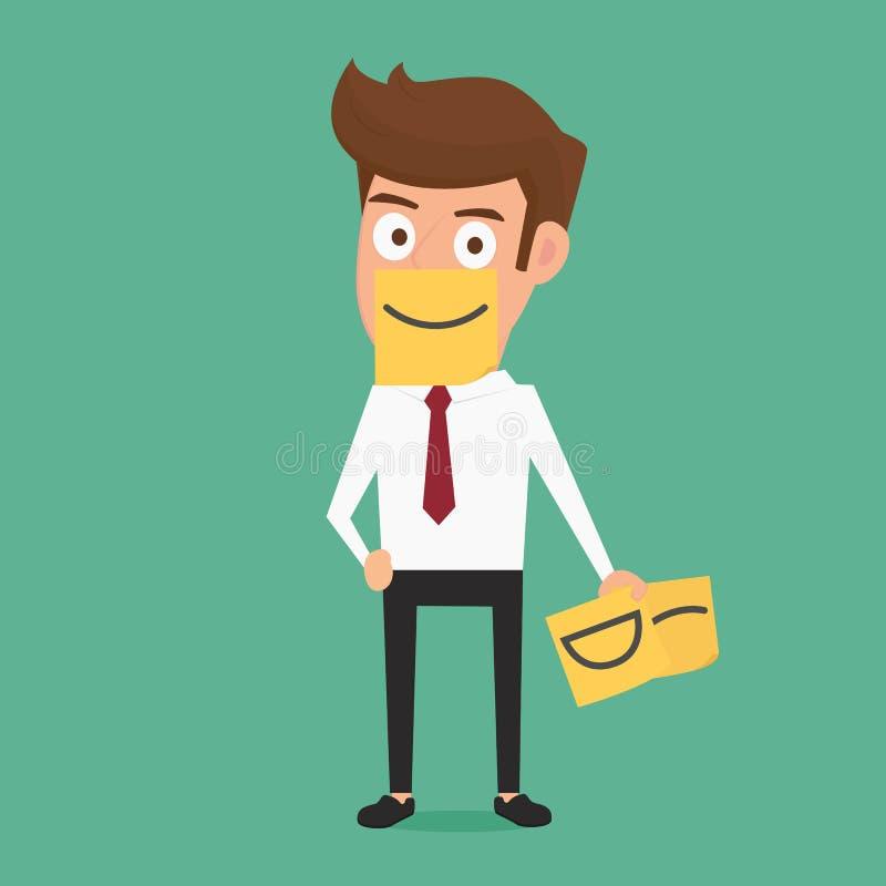 Geschäftsmann, der wirkliches Gefühl hinter klebrigen Anmerkungen des Lächelns versteckt vektor abbildung