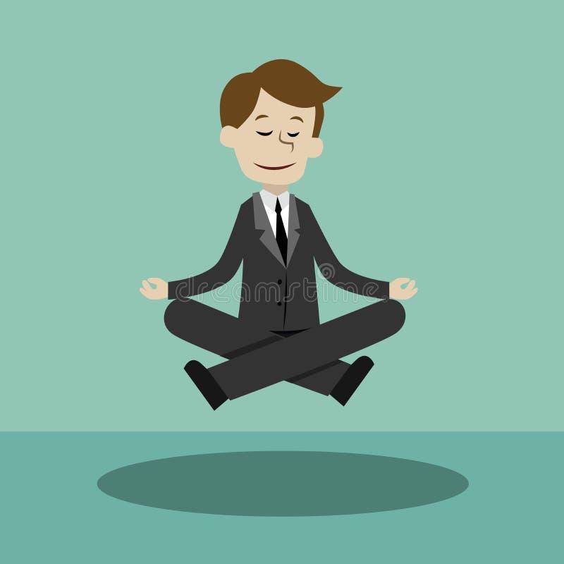 Geschäftsmann, der Yoga in der Lotoshaltung tut Herstellung von Ideen Halten Sie Ruhe lizenzfreie abbildung