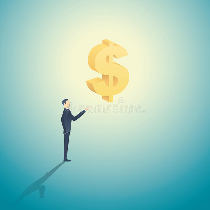 Geschäftsmann, der Zeichen des Dollars 3d als Symbol der Investition, der Banken, des Geldes und der Habsucht, Kapitalismus hält stock abbildung