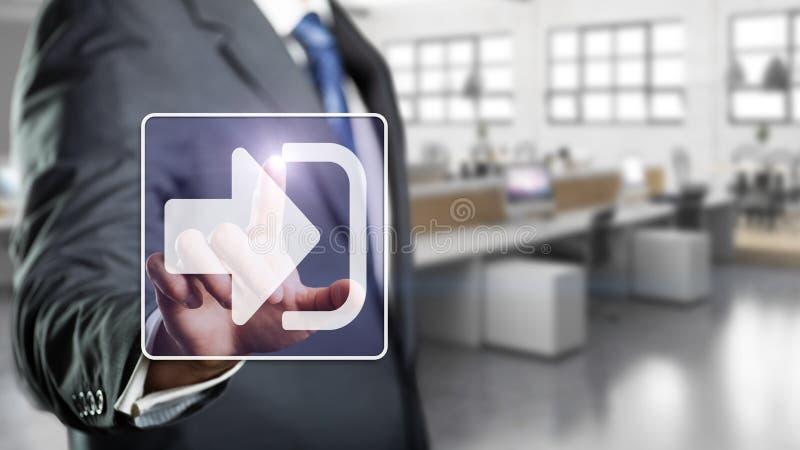 Geschäftsmann, der a Zeichen-im Knopf berührt stockbilder