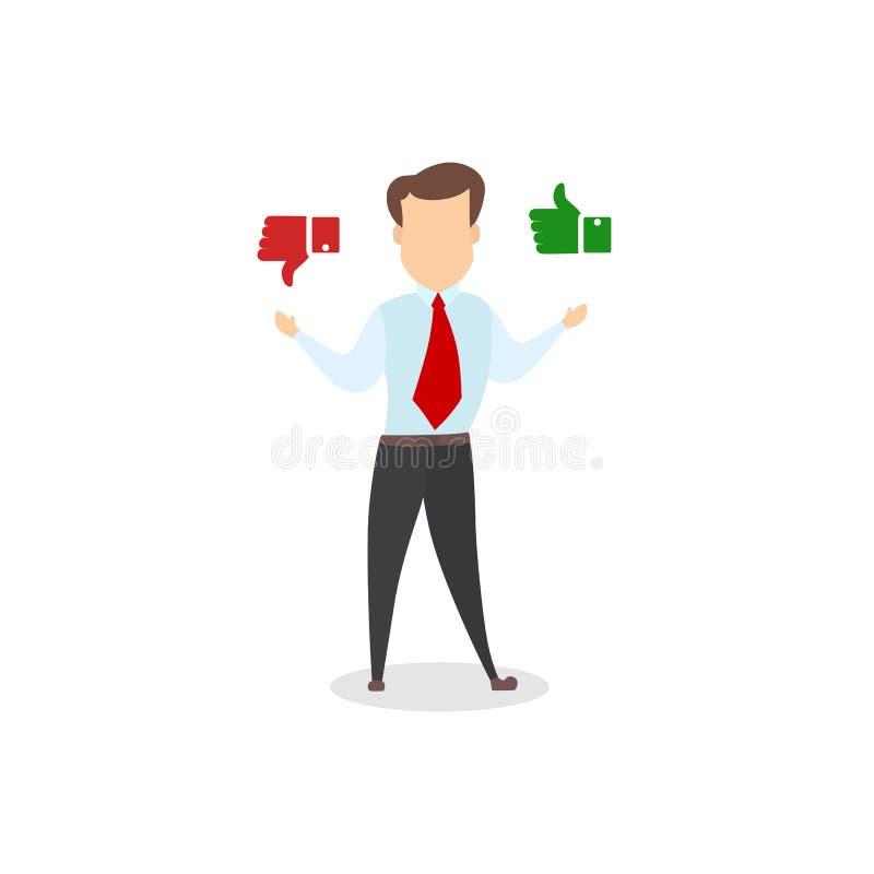 Geschäftsmann, der zwischen Positiv und negativem Feedback wählt vektor abbildung