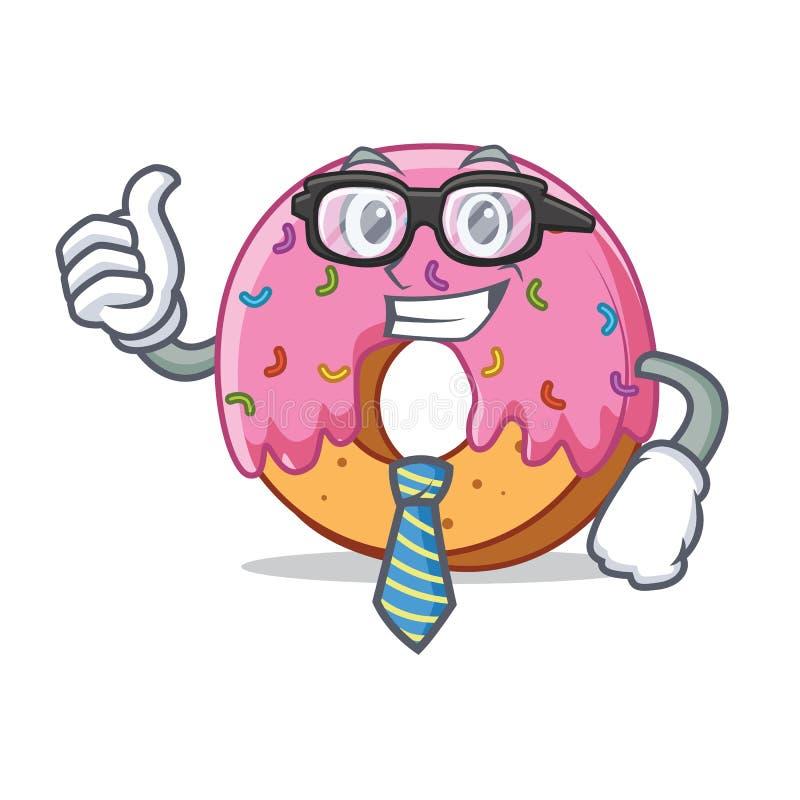 Geschäftsmann-Donutcharakter-Karikaturart lizenzfreie abbildung