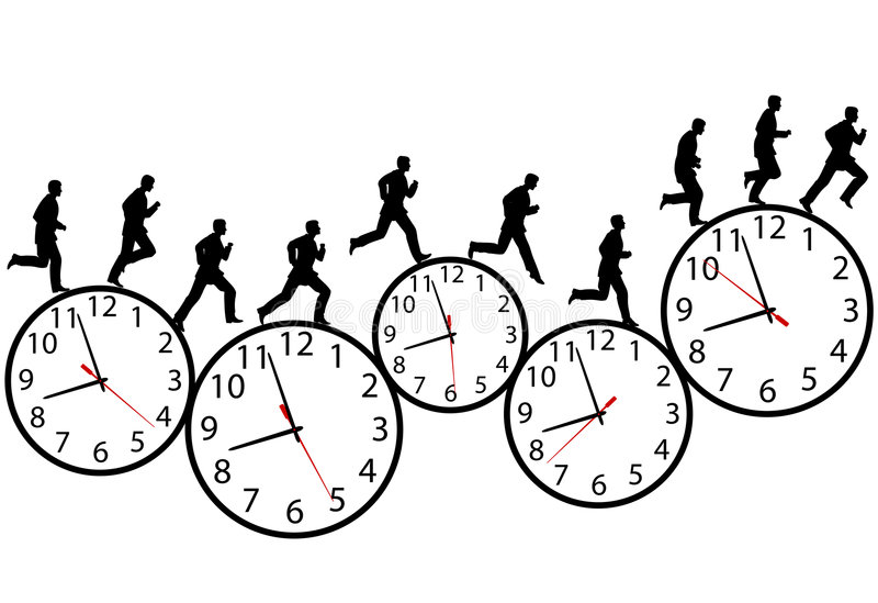 Geschäftsmann in einer Hast läuft auf Zeitborduhren stock abbildung