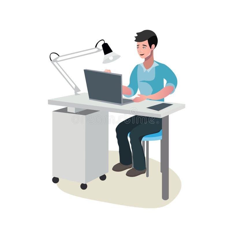 Geschäftsmann in einer Klage, die an Computer arbeitet stock abbildung