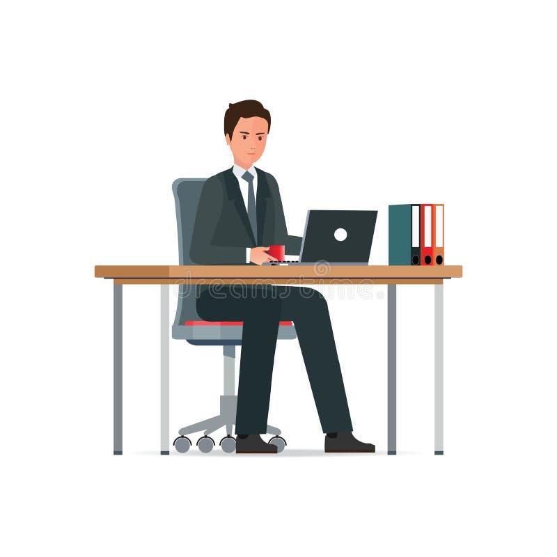 Geschäftsmann in einer Klage, die an einer Laptop-Computer arbeitet stock abbildung