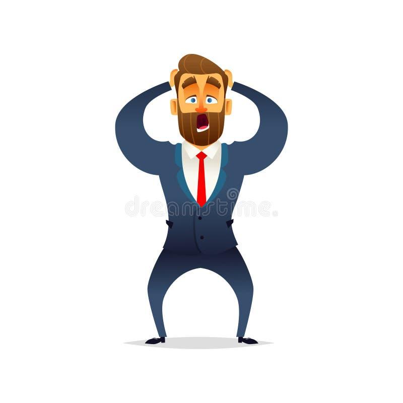 Geschäftsmann entsetzt Die Krise im Geschäft Der Manager wird erschrocken vektor abbildung