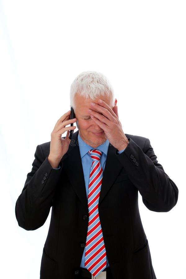 Geschäftsmann enttäuschtes Benennen lizenzfreie stockfotografie