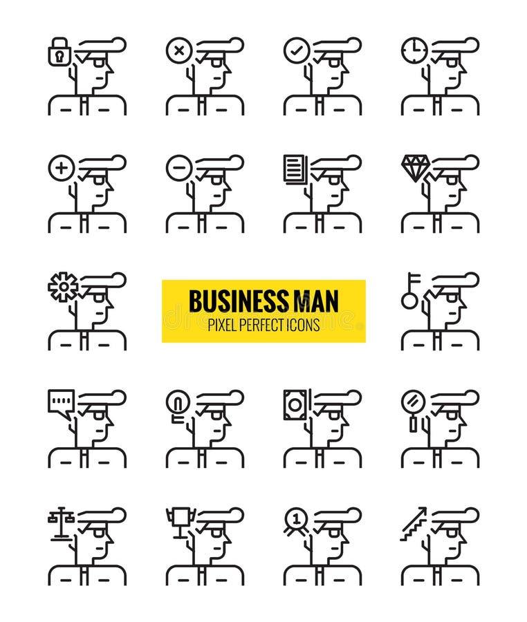Geschäftsmann-Entwurfsikonensatz Moderne minimalistic Art lizenzfreie abbildung
