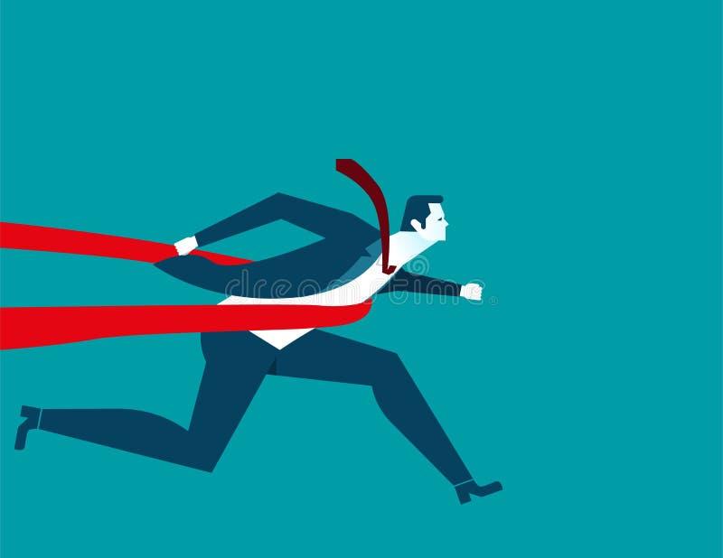 Geschäftsmann erfolgreich in einer Ziellinie Konzeptgeschäftskranke stock abbildung