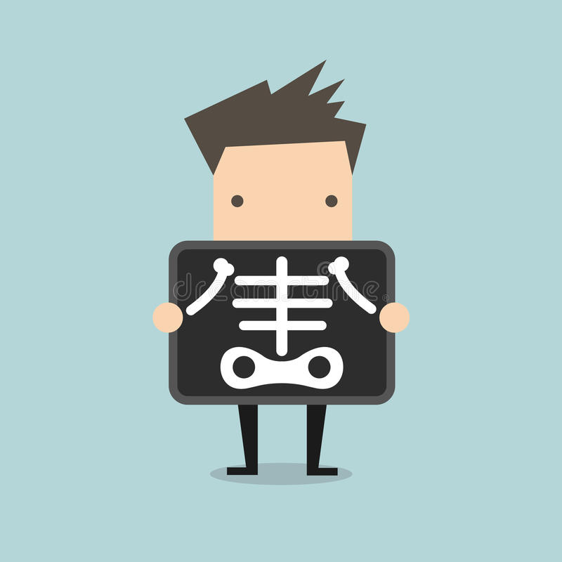 Geschäftsmann erhält Röntgenprüfung stock abbildung