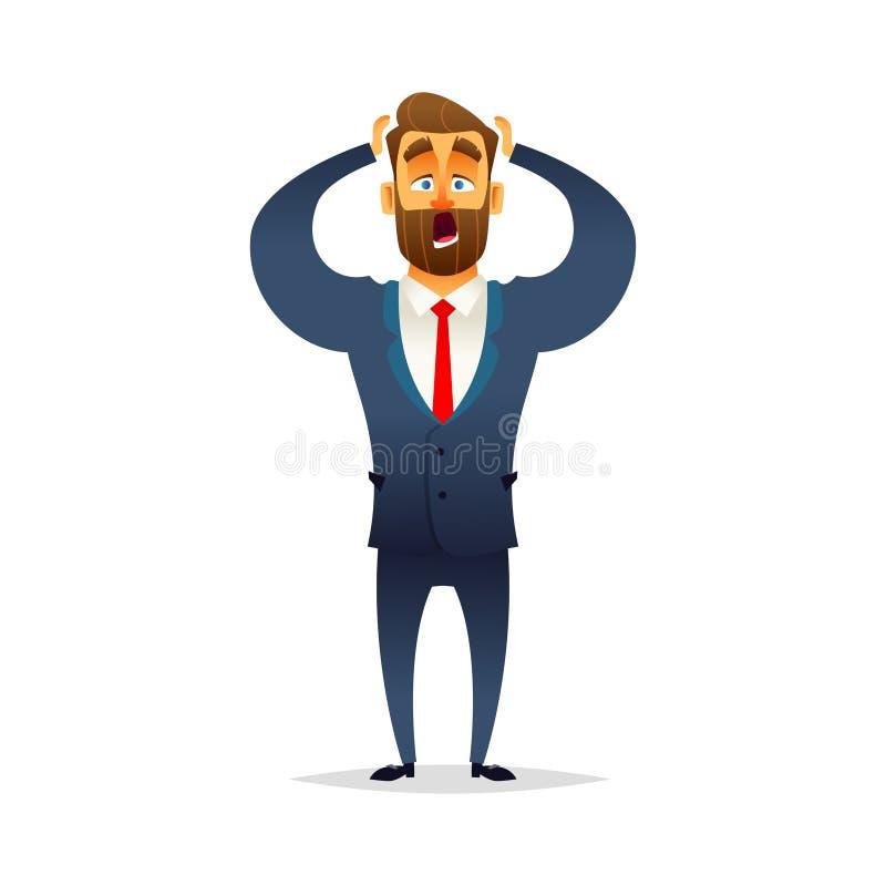 Geschäftsmann erschrocken und erschrocken Der Manager ist ängstlich und empört stock abbildung