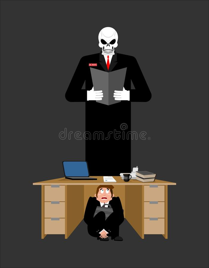 Geschäftsmann erschrocken unter Tabelle des Gläubigers erschrockenes Geschäft lizenzfreie abbildung