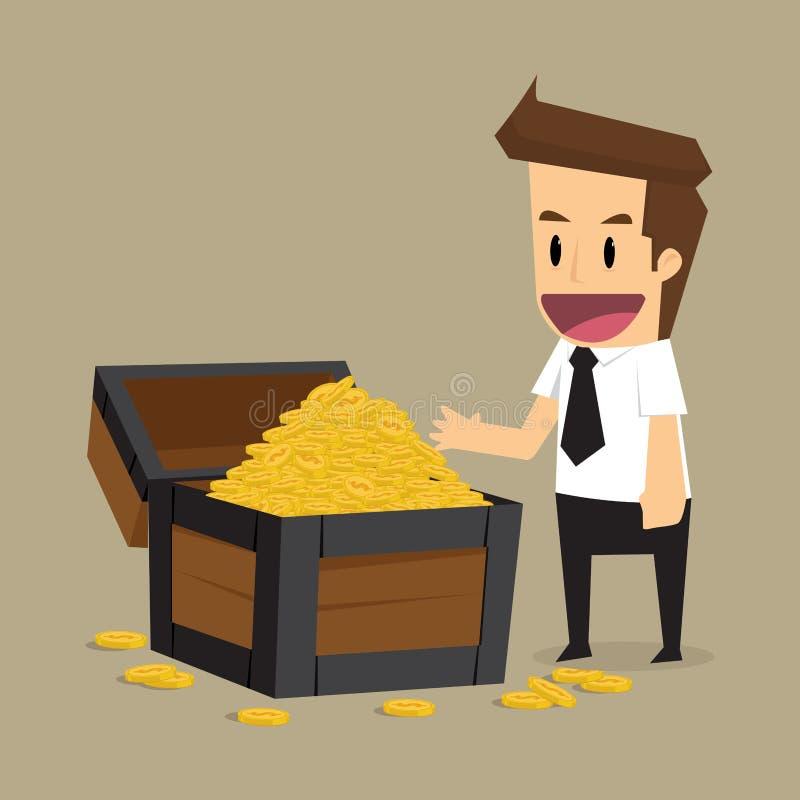 Geschäftsmann fand den Schatz, Einkommen wird versteckt stock abbildung