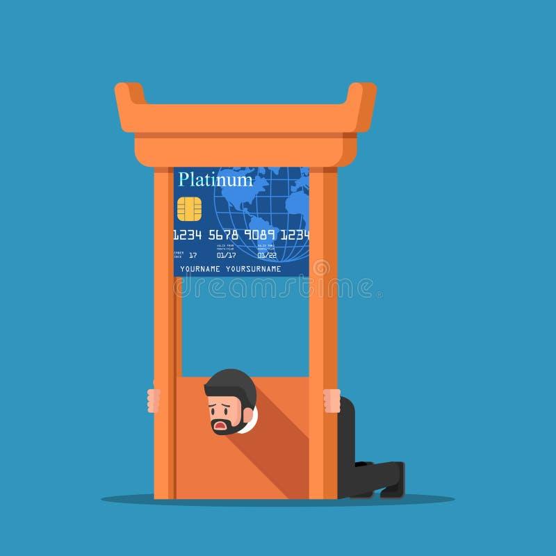 Geschäftsmann fest in der Kreditkarteguillotine lizenzfreie abbildung