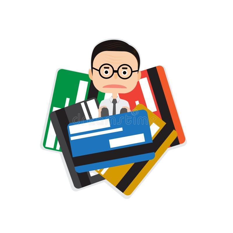 Geschäftsmann fest in vielen Kreditkarte Finanzkrise- und Schuldkonzept stock abbildung
