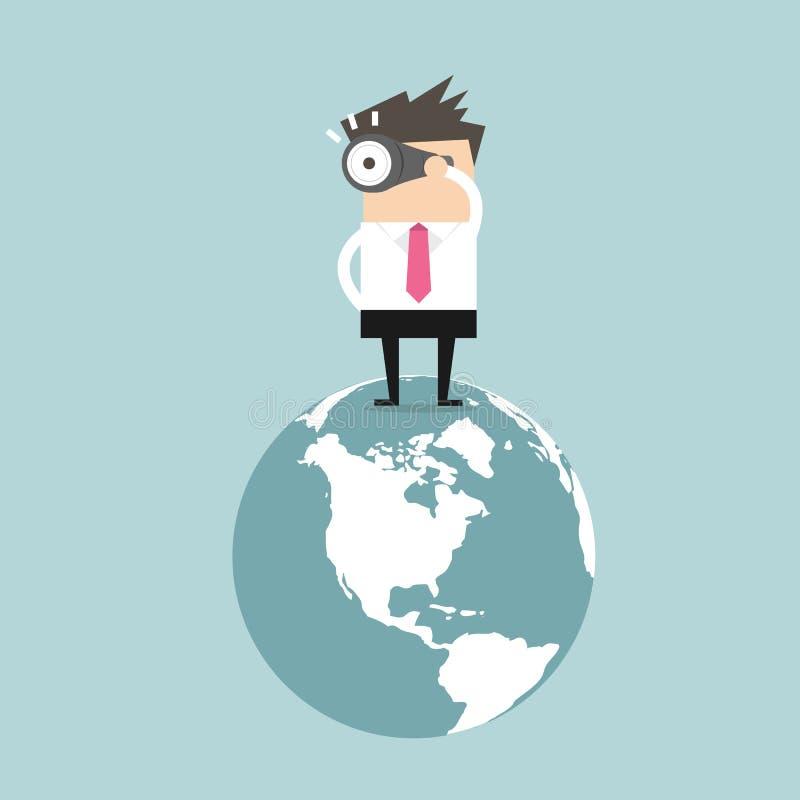 Geschäftsmann finden die Gelegenheit auf der Welt vektor abbildung