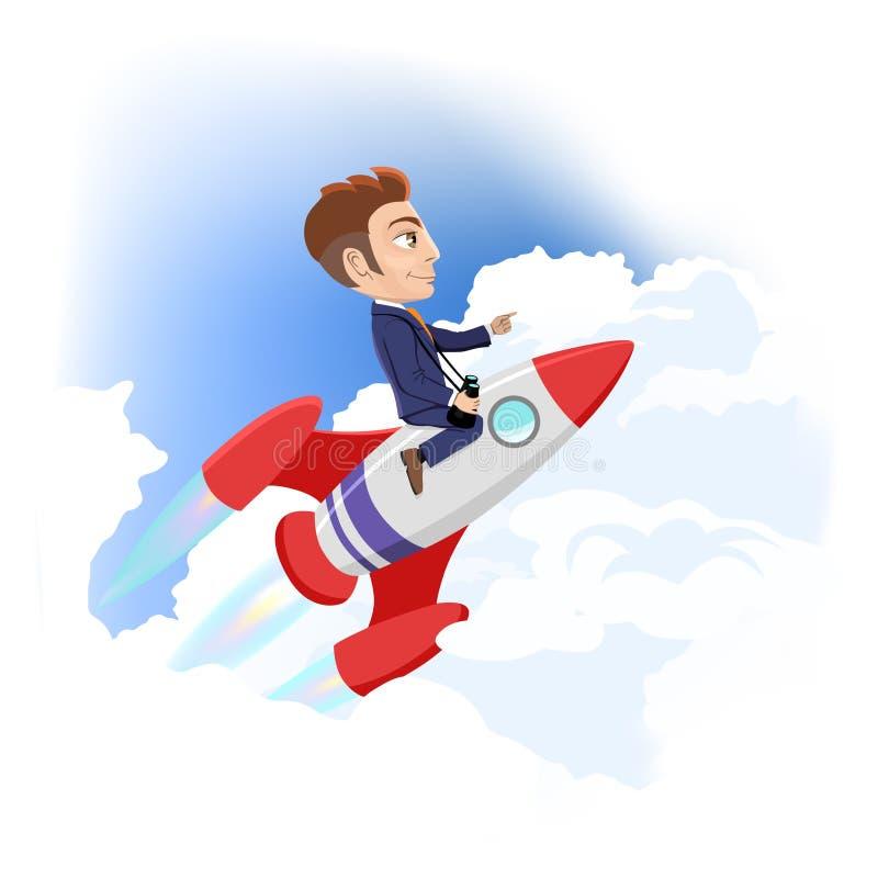 Geschäftsmann-Fliegen auf Raum-Rocket Success Achievement-Startkonzept-Karikatur-Vektor-Illustration vektor abbildung