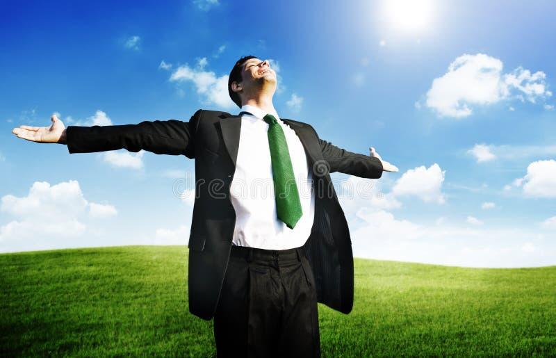 Geschäftsmann-Freedom Relaxation Getaway-Erfrischungs-Konzept lizenzfreie stockfotografie