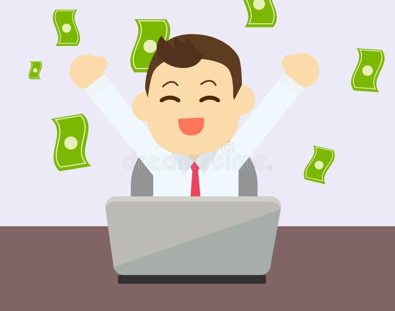 Geschäftsmann froh zum Erwerben des Geldes von online lizenzfreie abbildung