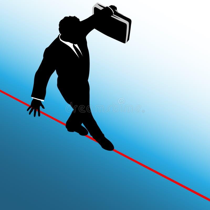 Geschäftsmann-Gefahr-Drahtseil-Hintergrund lizenzfreie abbildung