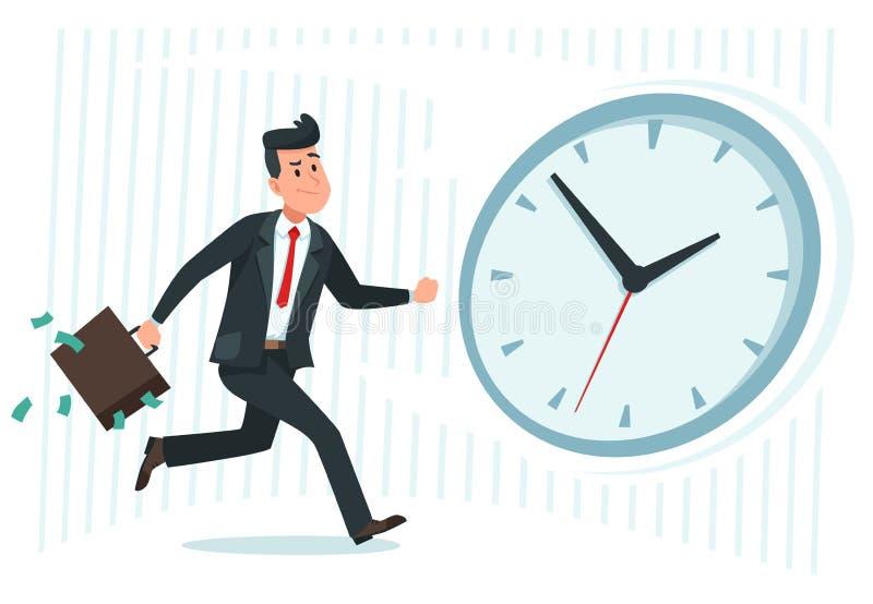 Geschäftsmann gegen Zeit Aufholende Uhruhr der beschäftigten Geschäftsarbeitskraft, laufender Mann und späte Karikaturvektorillus vektor abbildung