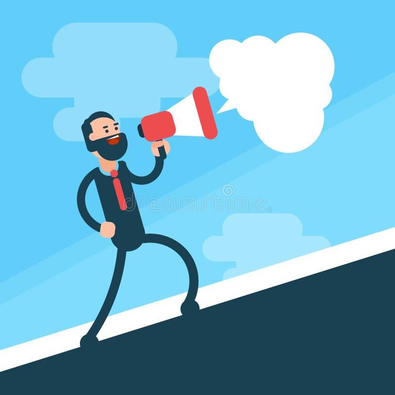 Geschäftsmann gehen Griff-Megaphon-Sprecher hinauf lizenzfreie abbildung