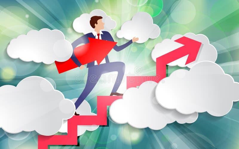 Geschäftsmann geht die Treppe hinauf, mit einem Pfeil, der auf seinem Weg unter seinem Arm zwischen weißen Papierwolken auf schön lizenzfreie abbildung