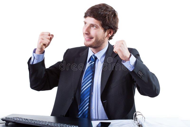 Geschäftsmann genießen für Erfolg lizenzfreie stockbilder