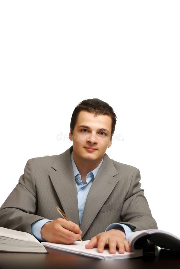 Geschäftsmann getrennt gegen weißen Hintergrund lizenzfreie stockfotos