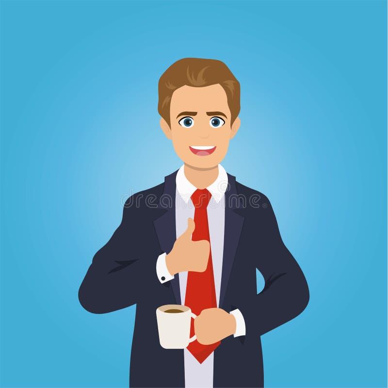 Geschäftsmann gibt die Daumen auf und trinkt Kaffee vektor abbildung