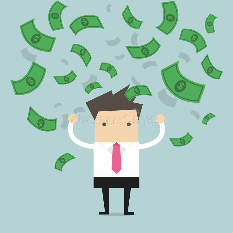 Geschäftsmann glücklich mit vieler Banknote, die in die Luft fließt lizenzfreie abbildung