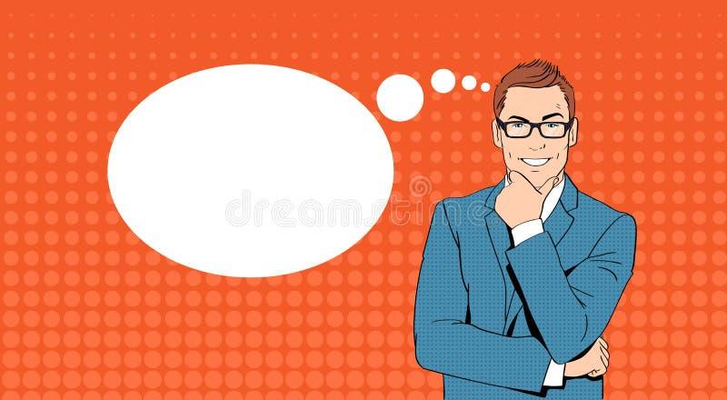 Geschäftsmann-Griff Chin Businessman Think, erwägen neuen Ideen-Chat-Blasen-Knall Art Retro Style lizenzfreie abbildung