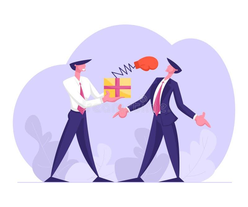 Geschäftsmann-Griff-Kasten mit Knall herauf Boxhandschuh auf gegenüberzustellen dem Frühlings-Durchschlags-Gegner, unfairer Kampf stock abbildung