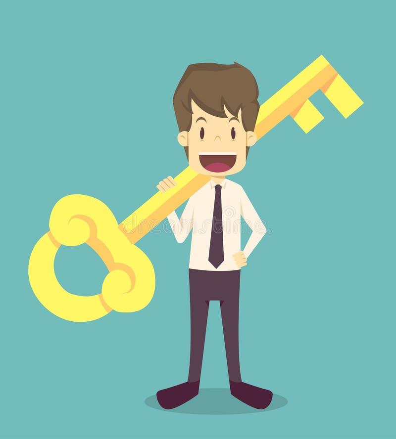 Geschäftsmann hält einen goldenen Schlüssel in seiner Hand Karikatur von Geschäft, e stock abbildung
