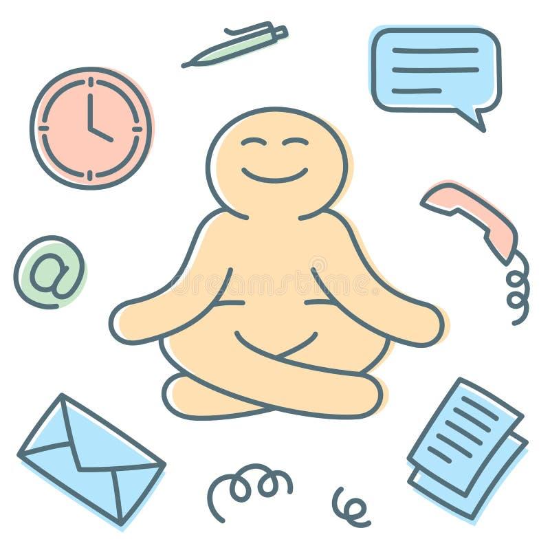 Gesch?ftsmann h?lt Ruhe und Meditation auf Arbeitsplatz lizenzfreie abbildung