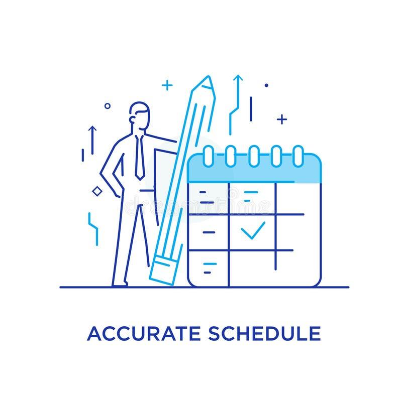 Geschäftsmann hält Stände eines Bleistifts nahe einem Kalender Schicken Sie zum Erfolg nach Fingerzeigerichtung Erfolg, Wachstums lizenzfreie abbildung