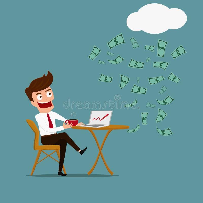 Geschäftsmann haben sich zu entspannen und Einkunft- aus Kapitalvermögenkonzept vektor abbildung