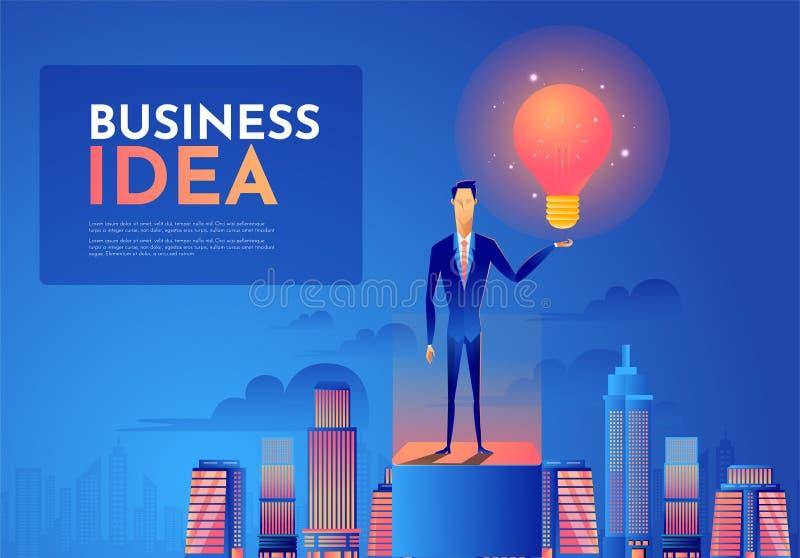 Geschäftsmann halten eine Glühlampe auf das Gebäude Führungs- und Ideenkonzept stock abbildung