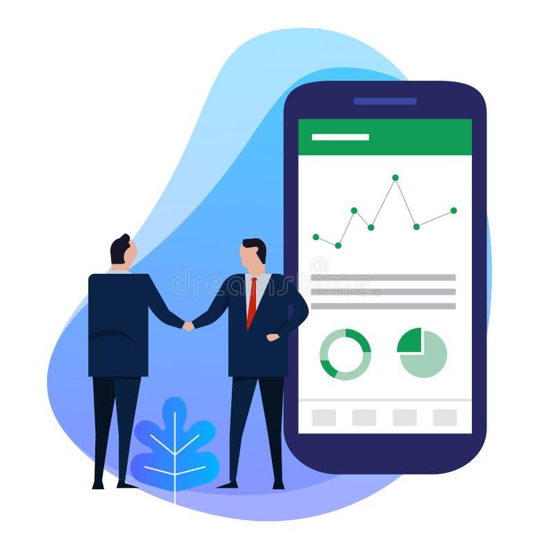 Geschäftsmann-Handerschütterung mit großem intelligentem Telefon zeigt Analytikdiagramm-Datentorte Finanzinformationen über Schir lizenzfreie abbildung