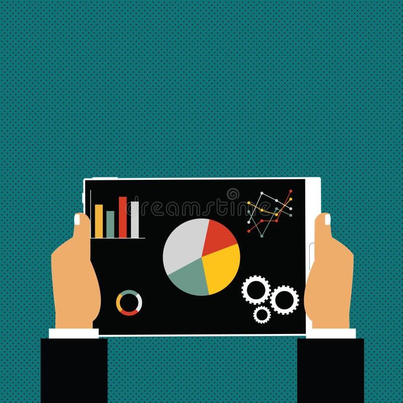 Geschäftsmann Hands Holding Tablet mit Suchmaschinen-Optimierungs-Fahrer Icons auf Schirm Kreative Hintergrund-Idee für stock abbildung