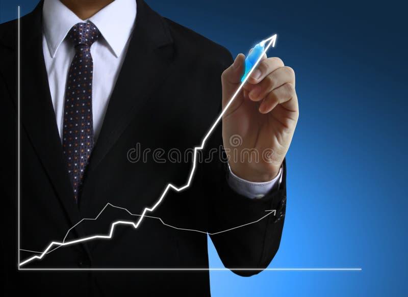 Geschäftsmann-Handzeichnungsdiagramm lizenzfreies stockbild